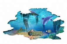 3D立体海底世界海豚背景墙
