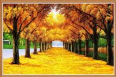 秋日黄金满地挂画