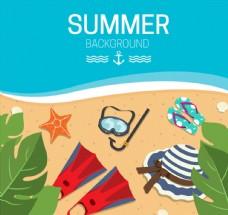 彩色夏季海滩度假插画矢量图