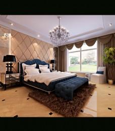 欧式简欧卧室模型