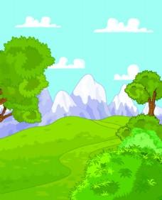 绿色草原与雪山矢量素材