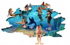 3D海底世界美人鱼墙纸壁画背景墙