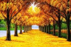 秋日风景瓷砖背景墙带路径