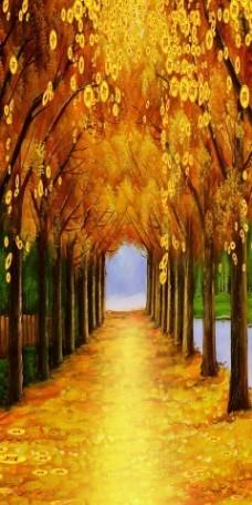 秋景瓷砖高清背景墙