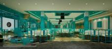 水绿色餐厅模型