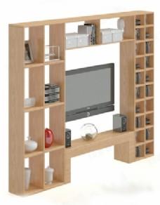 背景木制电视柜3D模型
