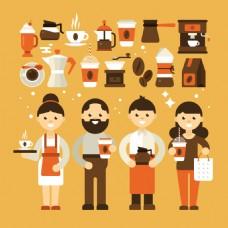 咖啡厅创意元素插画