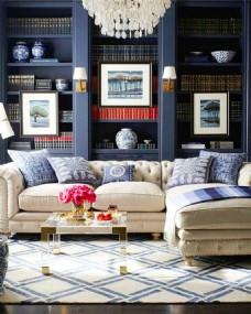 蓝色现代客厅兼书房沙发背景墙图