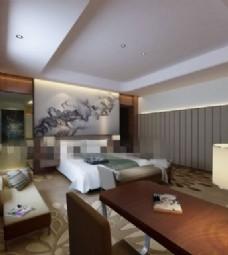 现代时尚酒店套房装修效果图