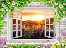 3D窗外山野风光背景墙
