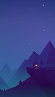 卡通夜空高山背景
