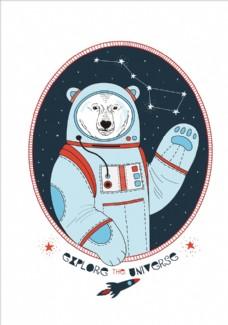 太空熊图案