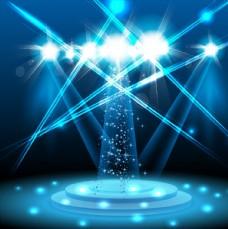 蓝色闪耀唯美舞台光效背景