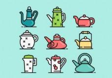 茶壶矢量背景素材