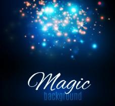 深蓝色唯美闪耀魔法光效背景