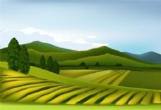 蓝天白云草地卡通风景矢量素材