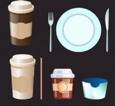 咖啡餐具矢量素材