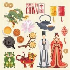 中国美食矢量素材