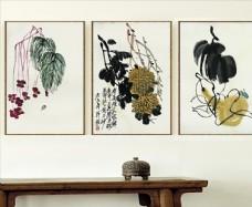 新中式水墨花卉客厅无框画