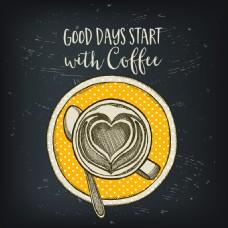 手绘创意花式咖啡插画
