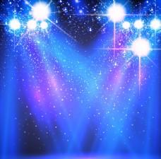 时尚蓝色聚光灯舞台光效背景