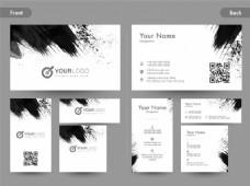 纵向和纵向名片,名片或名片与黑色抽象笔触的前后页视图。