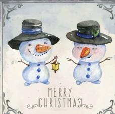 水彩圣誕雪人