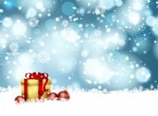圣誕禮品與雪花背景