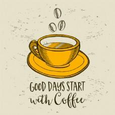 手绘卡通的咖啡杯静物