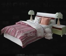 粉红和白色床亚麻儿童床