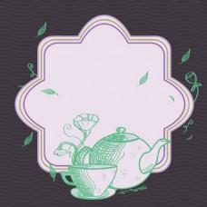 简约手绘茶壶矢量背景素材