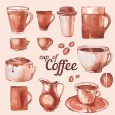 水彩绘各种咖啡杯插画