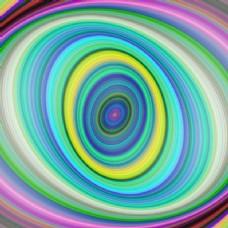彩色数字椭圆分形艺术背景