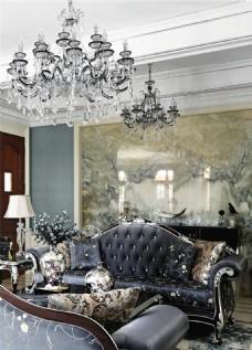 现代简欧风格客厅水晶吊灯装饰设计效果图
