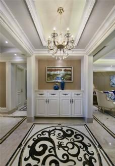 现代欧式时尚客厅水晶吊灯装修效果图