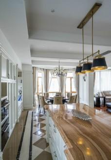 日式简约风格客厅吊灯装修效果图