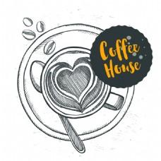 手绘时尚艺术咖啡插画