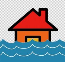 红房子洪水图标免抠png透明图层素材