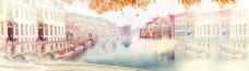 手绘卡通黄叶繁华都市商务banner背景