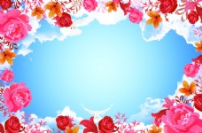 蓝天花朵吊顶装饰图