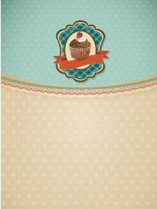 甜品蛋糕文艺圆点美食矢量背景