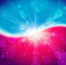 多彩唯美放射状光效背景矢量素材