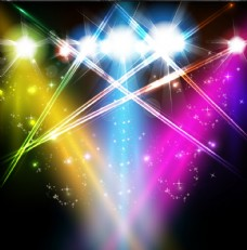多彩闪耀舞台放射光效背景