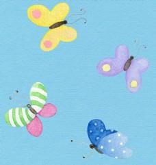 水彩飞动蝴蝶儿童背景素材