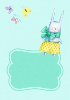 可爱兔子精美蝴蝶卡片背景素材