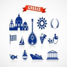 希腊旅游特色元素矢量
