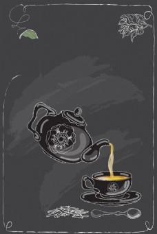 矢量欧式下午茶欧式手绘背景