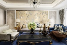 新中式室内设计客厅组合沙发3d模型效果图