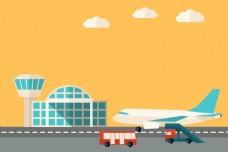 矢量扁平化飞机场航空背景素材